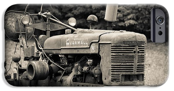 Best Sellers -  - Agricultural iPhone Cases - Old Tractor Black and White Square iPhone Case by Edward Fielding