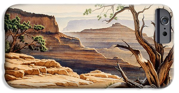 Grand Canyon iPhone Cases - Old Tree at the Canyon iPhone Case by Paul Krapf