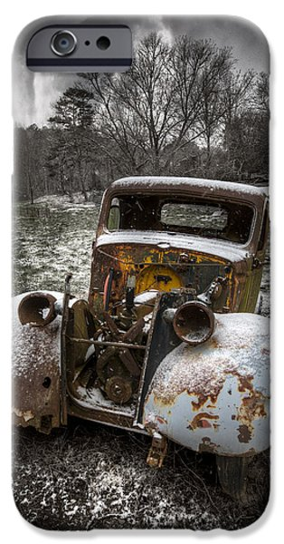 Autumn In The Country iPhone Cases - Old Truck in the Smokies iPhone Case by Debra and Dave Vanderlaan