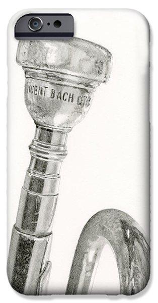 Sarah Batalka Drawings iPhone Cases - Old Trumpet iPhone Case by Sarah Batalka