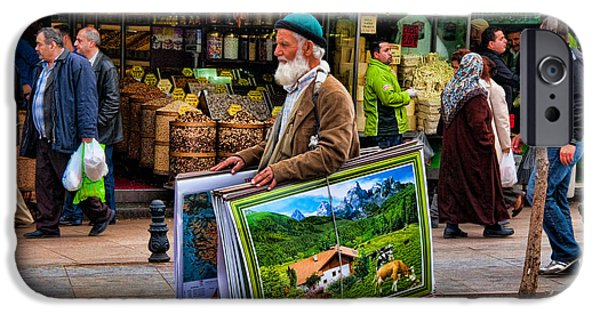 Local Food iPhone Cases - Poster Man at the Istanbul Spice Market iPhone Case by David Smith