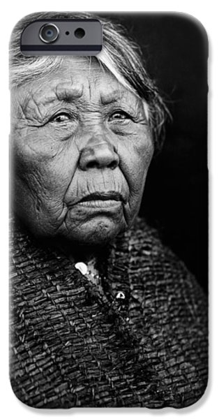 Gray Hair iPhone Cases - Old Twana woman circa 1913 iPhone Case by Aged Pixel