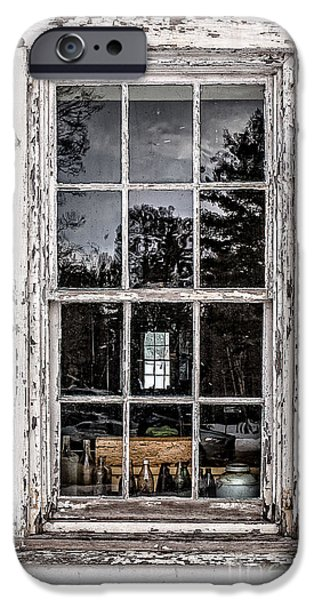 Ancient Ruins iPhone Cases - Old Twelve pane window with antique bottles iPhone Case by Edward Fielding