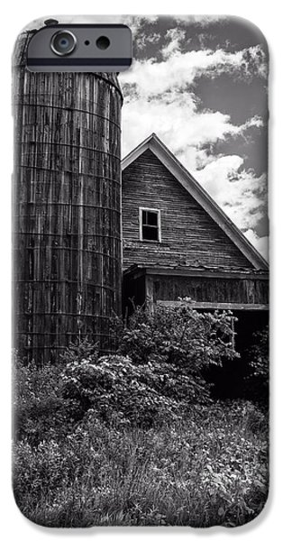 Overgrown iPhone Cases - Old Vermont Barn and Silo iPhone Case by Edward Fielding