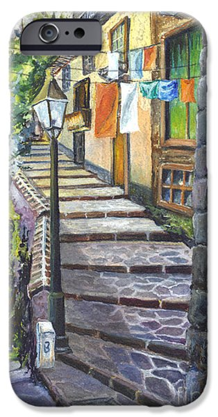 Yellowscape iPhone Cases - Old Village Stairs - Tuscany Italy iPhone Case by Carol Wisniewski