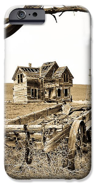 Old Wagon And Homestead iPhone Case by Athena Mckinzie