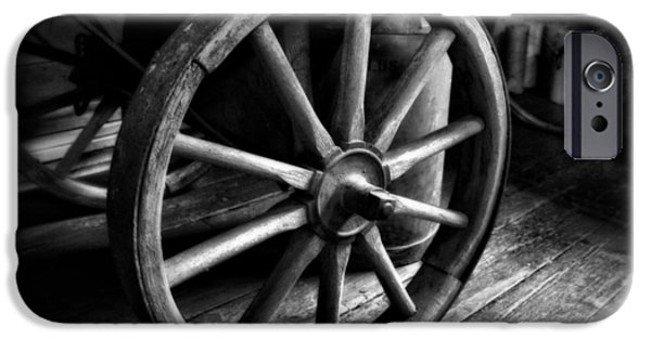 Rucker iPhone Cases - Old Wagon Wheel Black And White iPhone Case by Dan Sproul