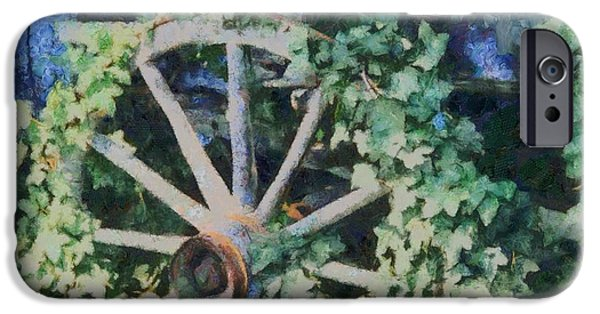 Rucker iPhone Cases - Old Wagon Wheel iPhone Case by Dan Sproul