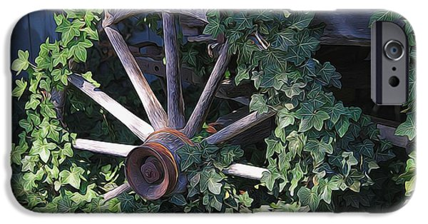 Wooden Wagons iPhone Cases - Old Wagon Wheel On The Farm iPhone Case by Dan Sproul