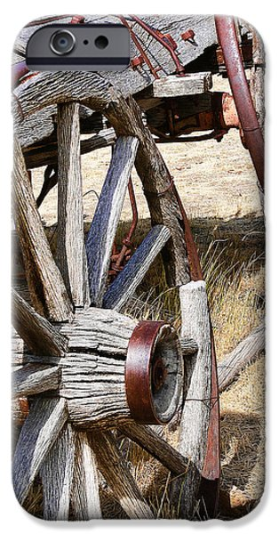 Wooden Wagons iPhone Cases - Old Wagon Wheels from Montana iPhone Case by Jennie Marie Schell