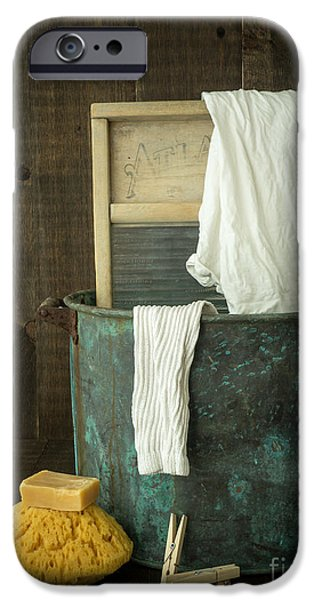 Samples iPhone Cases - Old Washboard Laundry Days iPhone Case by Edward Fielding