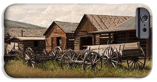 Log Cabins iPhone Cases - Old West Wyoming  iPhone Case by Juli Scalzi