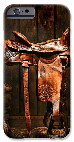 Old Western Saddle iPhone Case by Olivier Le Queinec