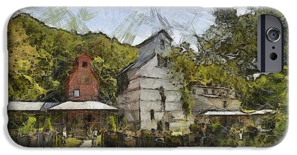 Old Barn Drawing iPhone Cases - Old Weston Grain Elevator  iPhone Case by Liane Wright
