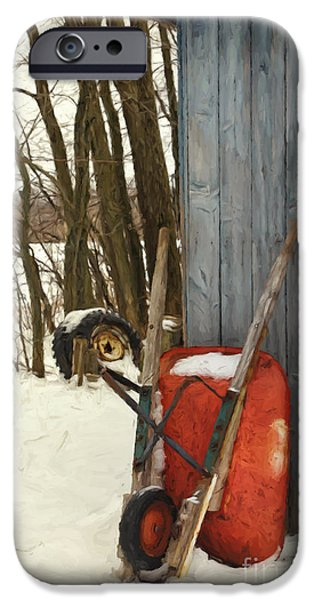 Shed Digital Art iPhone Cases - Old wheelbarrow leaning against barn/ Digital Painting iPhone Case by Sandra Cunningham