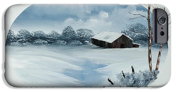 Bob Ross Paintings iPhone Cases - Old Winter Barn iPhone Case by Shannon Wells