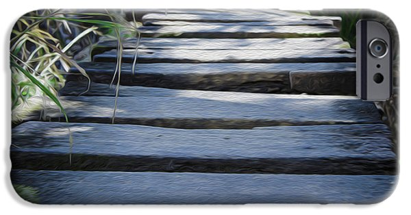 Walkway Digital Art iPhone Cases - Old Wodden Bridge iPhone Case by Aged Pixel