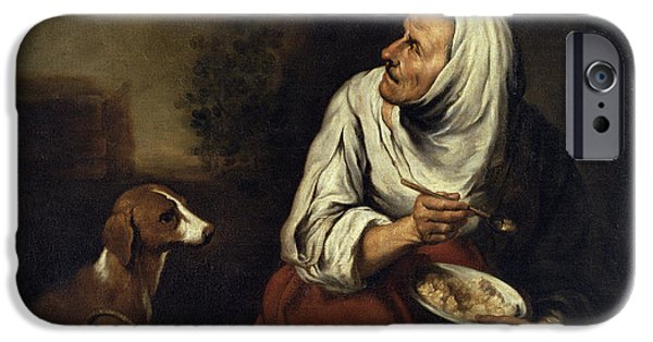 Begging iPhone Cases - Old Woman With Dog Oil On Canvas See Also 160057 iPhone Case by Bartolome Esteban Murillo