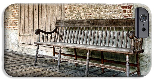 Historic Home iPhone Cases - Old Wood Bench iPhone Case by Olivier Le Queinec