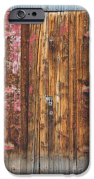 Old Wood Door With Six Red Hinges iPhone Case by James BO  Insogna