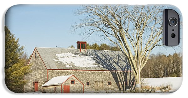 Rural iPhone Cases - Old Wood Shingled Barn In Winter Maine iPhone Case by Keith Webber Jr