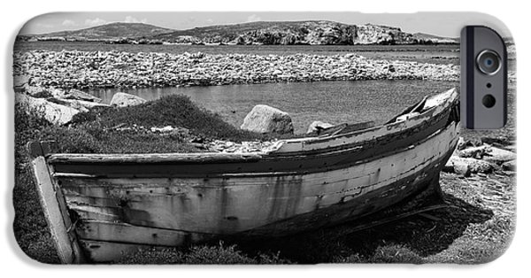 Delos iPhone Cases - Old Wooden Boat on Delos mono iPhone Case by John Rizzuto