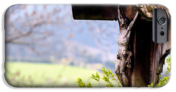 Wayside Cross iPhone Cases - Old wooden Crucifix  iPhone Case by Chi Casting