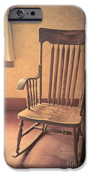 Rocking Chairs Photographs iPhone Cases - Old wooden rocking chair iPhone Case by Edward Fielding