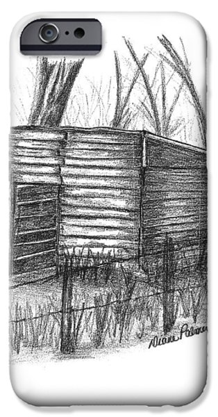 Shed Drawings iPhone Cases - Old Wooden Shed iPhone Case by Diane Palmer