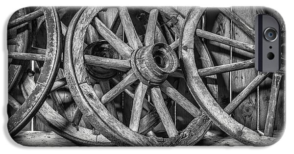 Rust iPhone Cases - Old Wooden Wheels iPhone Case by Erik Brede