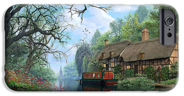 Swans... iPhone Cases - Old Woodland Canal iPhone Case by Dominic Davison