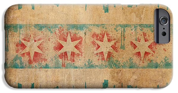 Town Mixed Media iPhone Cases - Old World Chicago Flag iPhone Case by Mike Maher