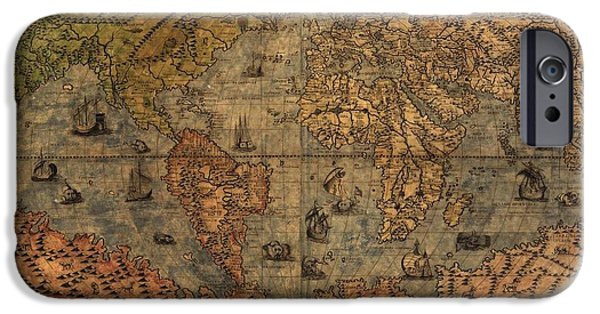 Pirate Ship iPhone Cases - Old World Map iPhone Case by Dan Sproul