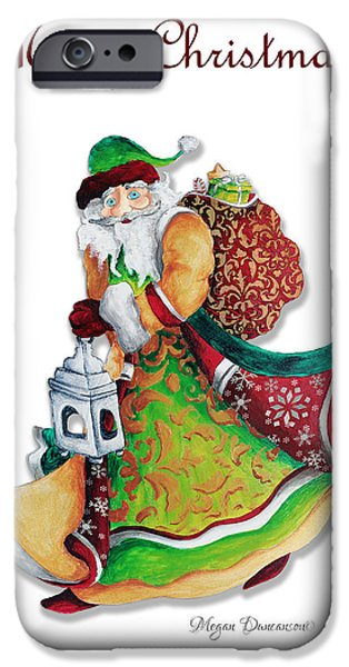 Old World Santa Christmas Art Original Painting by Megan Duncanson iPhone Case by Megan Duncanson