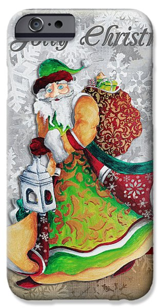 Old World Santa Clause Christmas Art Original Painting By Megan Duncanson iPhone Case by Megan Duncanson