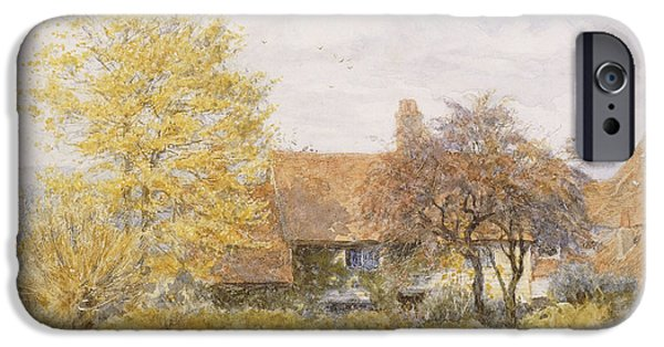 Young Paintings iPhone Cases - Old Wyldes Farm iPhone Case by Helen Allingham