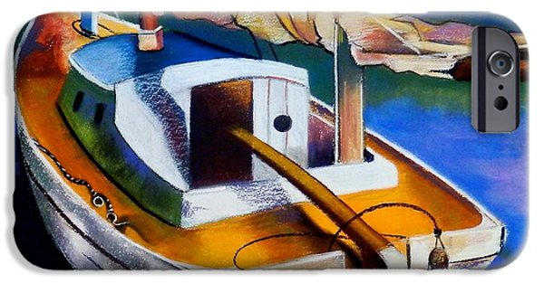 Cabin Window Pastels iPhone Cases - Old Yacht iPhone Case by Susan Robinson