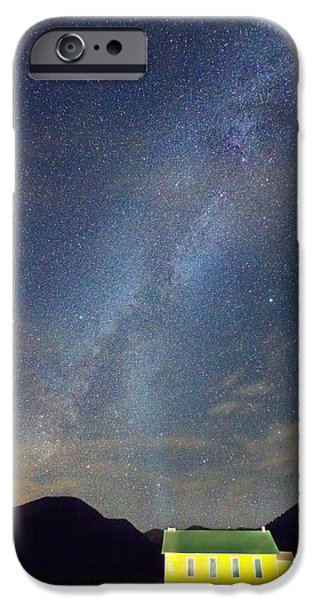 Corporate Art Photographs iPhone Cases - Old Yellow School House Milky Way Night Sky iPhone Case by James BO  Insogna