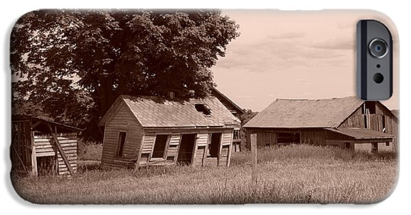 Old Barns Drawings iPhone Cases - Olde Homestead - Sepia iPhone Case by James Preston