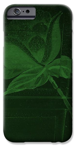 Botanic Illustration Digital Art iPhone Cases - Olive Green Negative Wood Flower iPhone Case by Rob Hans