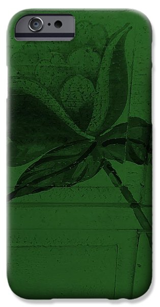 Botanic Illustration Digital Art iPhone Cases - Olive Green Wood Flower iPhone Case by Rob Hans