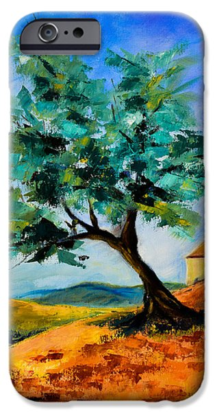Italian Landscapes Paintings iPhone Cases - Olive Tree on the Hill iPhone Case by Elise Palmigiani