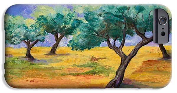 Culture Paintings iPhone Cases - Olive Trees Grove iPhone Case by Elise Palmigiani