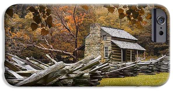Log Cabin Photographs iPhone Cases - Olivers Log Cabin during fall in the Great Smoky Mountains iPhone Case by Randall Nyhof