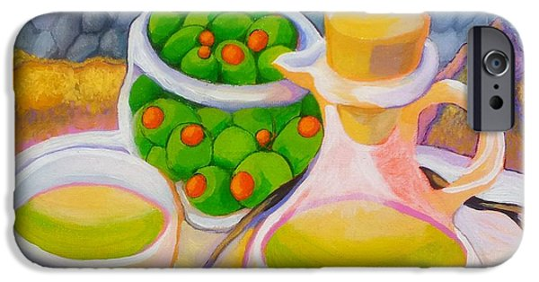 Democracy Paintings iPhone Cases - Olives Behind A Wall iPhone Case by Corey Habbas