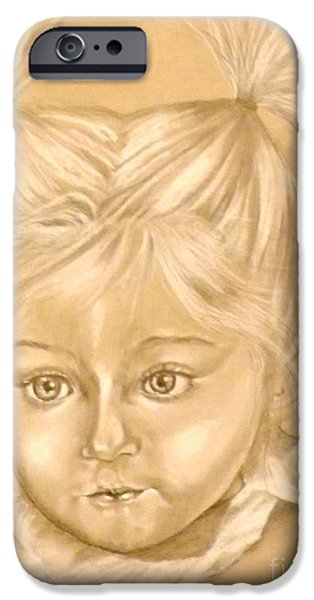Angelic Drawings iPhone Cases - Olivia iPhone Case by Sandra Valentini