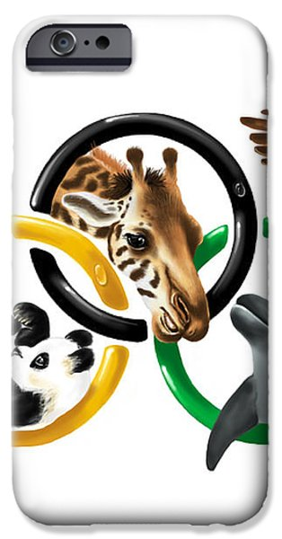 Olympic animals iPhone Case by Veronica Minozzi