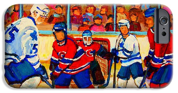 Hockey Paintings iPhone Cases - Olympic  Hockey Hopefuls  Painting By Montreal Hockey Artist Carole Spandau iPhone Case by Carole Spandau