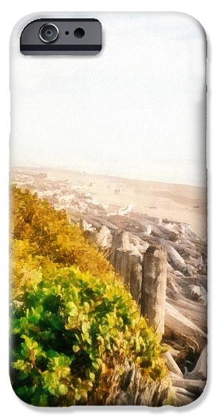 Park Scene Digital Art iPhone Cases - Olympic Peninsula Driftwood iPhone Case by Michelle Calkins