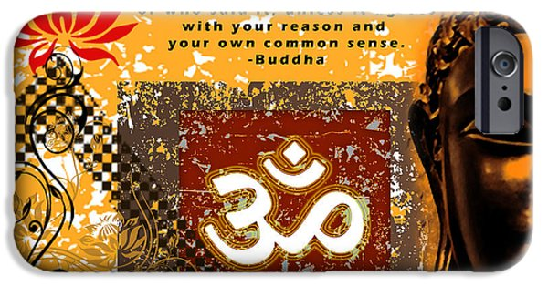 Tibetan Buddhism iPhone Cases - OM - Buddha iPhone Case by RSRLive Arts